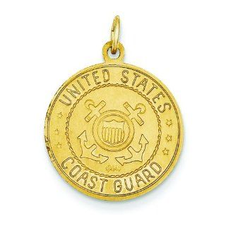 14K Gold Reversible US Coast Guard Saint Christopher Pendant: Italian Style Single Charms: Jewelry