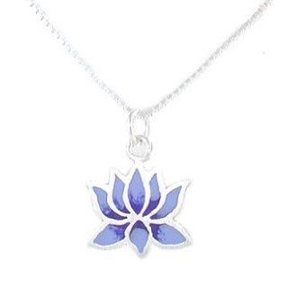 "Small Lotus Flower Pendant with Light and Dark Blue Finish in Sterling Silver on a 16"" Sterling Box Chain, #8221: Taos Trading Jewelry: Jewelry"