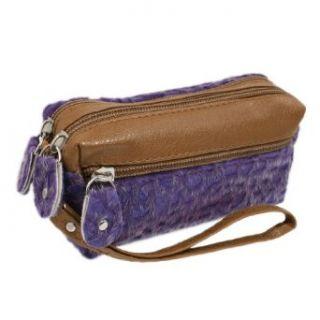 Purple Brown Faux Fur Coated Animal Print 2 Compartments Zip Up Handbag Purse