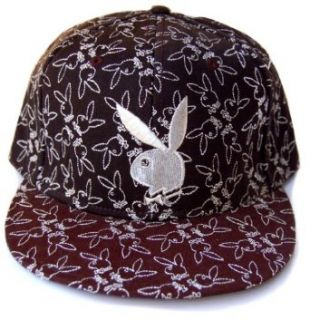 Play Boy Bunny 53 Embossed Black Fitted Hat Cap, Small Novelty Baseball Caps Clothing