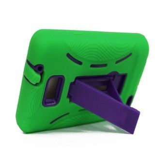 For Samsung Galaxy S II Galaxy SII Galaxy S2 Straight Talk Net10 SGH S959G S959G Hybrid Hard Rubber Case Green Purple with Stand