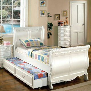 Alexandra Pearl White Finish Full Size Bed Frame w/ Trundle   Bedroom Furniture Sets
