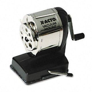 X ACTO Products   X ACTO   Model KS Manual Sharpener, Vacuum Base, Black/Chrome   Sold As 1 Each   Steel receptacle with locking quide for eight pencil sizes.   Twin steel cutters with Pencil Saver prevents over sharpening.   : Office Products