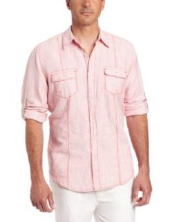 Cubavera Men's Roll Up Long Sleeve Two Pocket Shirt at  Men�s Clothing store