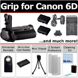 Professional Vertical EOS 6D Multi Purpose Battery Grip for Canon EOS 6D DSLR Camera + LPE6 Long Life Batteries + AC/DC Turbo Charger with Travel Adapter + Universal Wireless Remote + All In One Card Reader + Complete Deluxe Starter Kit (BG E13 BGE13)  Di