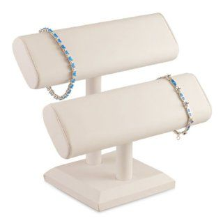 """6pcs White Faux Leather 2 Tier Bracelet Watch T Bar 7""""H Jewelry Holder Display Stand Jewelry"""