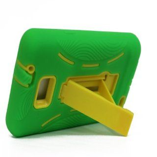 For Samsung Galaxy S II Galaxy SII Galaxy S2 Straight Talk Net10 SGH S959G S959G Hybrid Hard Rubber Case Green Yellow with Stand