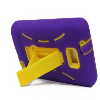 For Samsung Galaxy S II Galaxy SII Galaxy S2 Straight Talk Net10 SGH S959G S959G Hybrid Hard Rubber Case Purple Yellow with Stand