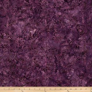 44'' Wide Tonga Batik Royal Velvet Floral Plum Fabric By The Yard