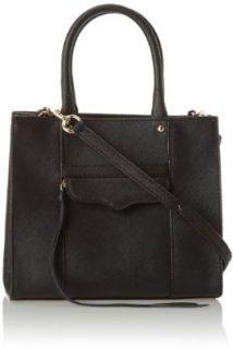 Rebecca Minkoff Saffiano Mab Tote Mini Cross Body Bag, Black, One Size Cross Body Handbags Shoes