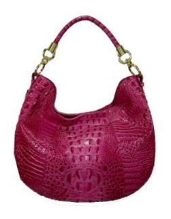 BRAHMIN Carmela Melbourne Croco Embossed Leather Hobo Bag Handbag (Fuschia) Clothing