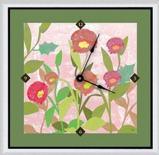 Green Leaf Art Spring Flowers Art Clock, 11 by 11 Inch   Wall Clocks