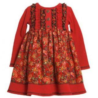 Bonnie Jean GIRLS 2T 6X RedRib Knit To Paisley Floral Print Challis Dress Pants Clothing Sets Clothing