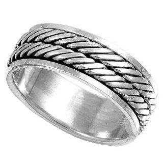 Sterling Silver Men's Braided Spinner Ring Unique Comfort Fit Pure 925 Band 8mm Size 9: Jewelry
