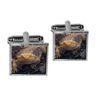 Bearded Dragon   Beardie Lizard Reptile Square Cufflink Set   Silver: Everything Else