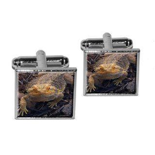 Bearded Dragon   Beardie Lizard Reptile Square Cufflink Set   Silver: Everything Else