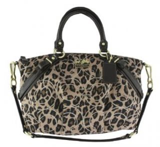 Coach Madison Signature Ocelot Animal Print Sophia Convertiable Satchel Bag Purse Tote 17764 Brown Clothing