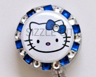 Solo Face Hello Kitty (BLUE) Rhinestone Badge Reel/ ID Badge Holder for Nurses, Teachers and anyone with an ID Badge to display  Identification Badges