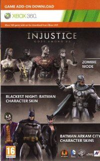 Injustice : Gods Among Us   Zombie Mode   Blackest Night  Arkham City Catwoman/Joker/Batman Skins DLC Code Card XBOX 360: Video Games