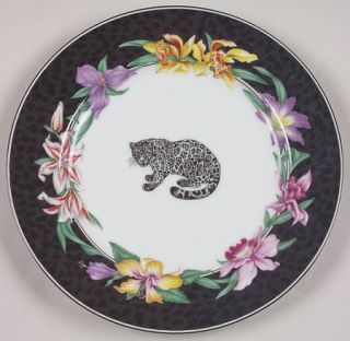 Fitz & Floyd Fleurs Safari (With Animals) Salad Plate, Fine China Dinnerware   A