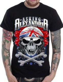 Asking Alexandria Pirate Biker Skull n Crossbones T Shirt (Front & Back) (Black, Medium) Music Fan T Shirts Clothing