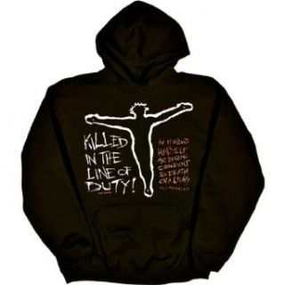 MENS HOODY : BLACK   XXXX LARGE   Killed in the Line of Duty   Christian Jesus Christ Bible Quote: Clothing