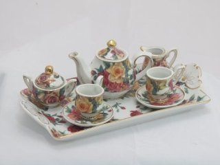 """Antique Miniature Fine China Tea Set  Rose Pattern  Perfect Sized for 18"""" American Girl Dolls. Toys & Games"""