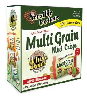 Sensible Portions 100 Calorie Pack Multi Grain Mini Crisps Apple Cinnamon, 0.84 Ounce Bags (Pack of 80)  Snack Food  Grocery & Gourmet Food