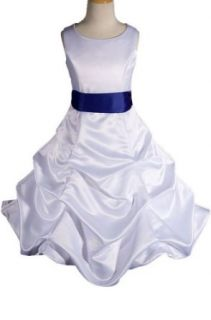 AMJ Dresses Inc Girls White/royal Blue Flower Girl Wedding Dress Sizes 2 to 12: Clothing