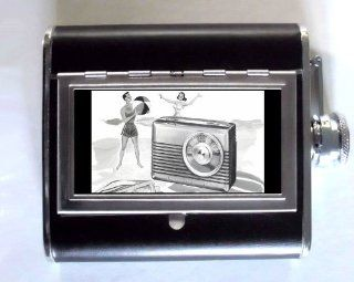 SENTINEL PORTABLE RADIO 1955 RETRO AD Whiskey and Beverage Flask, ID Holder, Cigarette Case Holds 5oz Great for the Sports Stadium Kitchen & Dining