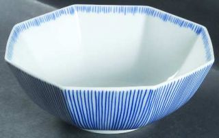 Fitz & Floyd Les Bands Blue 9 Octagonal Vegetable Bowl, Fine China Dinnerware
