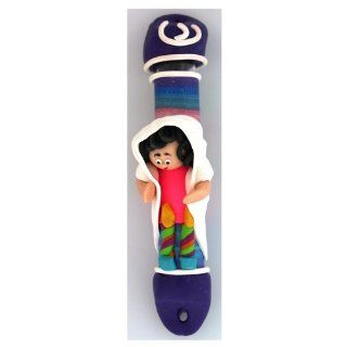 Fimo Mezuzah with Woman Lighting Shabbat Candles and Hebrew Letter Shin   Decorative Hanging Ornaments
