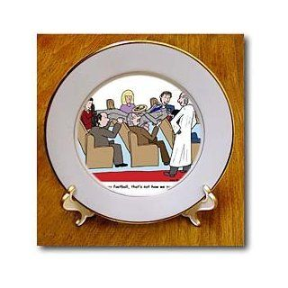 cp_3369_1 Rich Diesslins Funny General   Editorial Cartoons   Church Usher Gets Carried Away During the Offering   Plates   8 inch Porcelain Plate   Commemorative Plates
