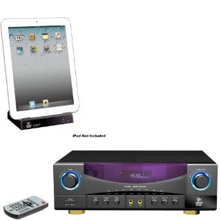 Pyle Stereo Receiver and iPod Dock Package   PT530A Two Channel 350 Watts Built In AM/FM Radio Amplifier Receiver   PIPADK1 Universal iPod/ipad/iPhone Docking Station For Audio Output Charging   Sync W/iTunes And Remote control Electronics