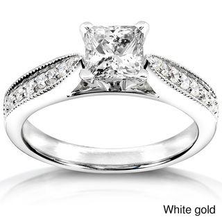 Annello   Anillo de compromiso de oro blanco 14 K con diamante de 7/8 ct peso total (H I, I1 I2) Annello Engagement Rings