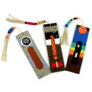 Handmade Recycled Paper Bookmarks (Set of 3) (Zimbabwe) Global Crafts Books & Journals