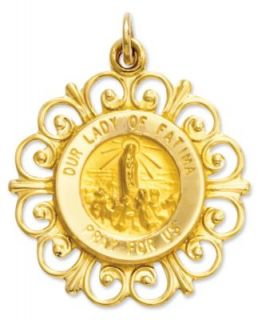 14k Gold Charm, Our Lady of Fatima Medal Charm   Jewelry & Watches