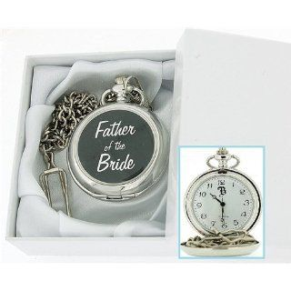 Boxx Silver Tone Father Of The Bride White Dial Pocket Watch & Chain BOXX231: Watches