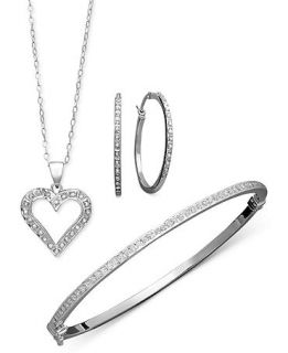 Sterling Silver Jewelry Set, Diamond Accent Heart Pendant, Hoop Earrings, and Bracelet   Jewelry & Watches