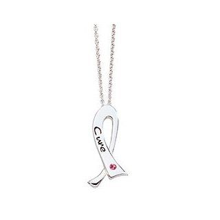 Karibou Cure Crystal Breast Cancer Ribbon Necklace: Jewelry