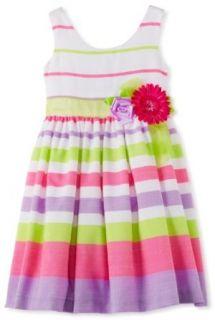 Bonnie Jean Girls 2 6X Linen Stripe Dress, Purple, 6 Playwear Dresses Clothing