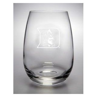 Duke Blue Devils Deep Etched Stemless Red Wine Glass  Sports Fan Shot Glasses  Sports & Outdoors