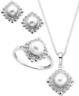 Pearl Jewelry Set, Sterling Silver Cultured Freshwater Pearl Love Knot Stud Earrings and Pendant Set   Jewelry & Watches