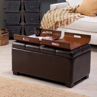 Livingston Storage Ottoman with Tray Tables   Brown   OT 162   Storage Benches
