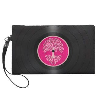 Pink Tree of Life Vinyl Record Graphic Wristlet Purses