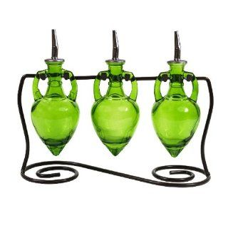 Retro Style Vinegar & Olive Oil Glass Bottle Liquid Dispensers Set/3 ~ G155 Set of 3 Lime Decorative Amphora Style Bottles with Chrome Spouts & Black Metal Swirl Stand Kitchen & Dining