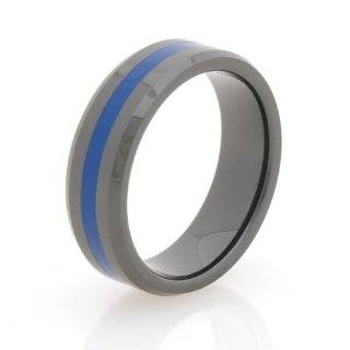 Zirconia Ceramic Brotherhood Band Blue Line Law Enforcement Officer Ring Police Officer Bands Jewelry