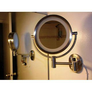 Jerdon HL65CD Hard Wired 8 Inch Two Sided Swivel Halo Lighted Wall Mount Mirror with 5x Magnification, 13 Inch Extension  Personal Makeup Mirrors  Beauty