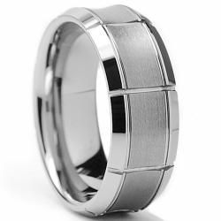 Tungsten Carbide Men's Brushed Concave Center Ring (8 mm) Men's Rings
