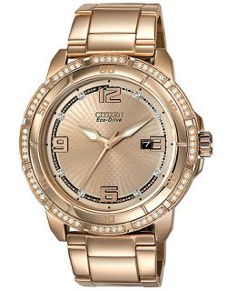 Citizen Womens Drive from Citizen Eco Drive Rose Gold Tone Stainless Steel Bracelet Watch 44mm AW1343 54Q   Watches   Jewelry & Watches